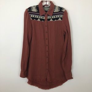 Bke small boho Aztec tunic button down blouse